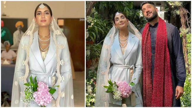 Desi Bride Wears Blue Pantsuit Wedding Day - Sakshi