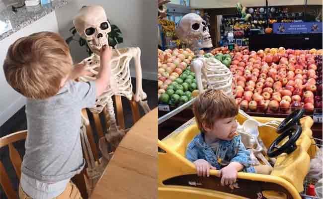 2Year Old Boy Bringing Skeleton everywhere He Goes Become Viral - Sakshi