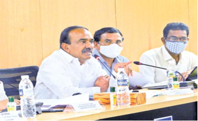 Etela Rajender Review Meeting With Municipal Officers In Karimnagar - Sakshi