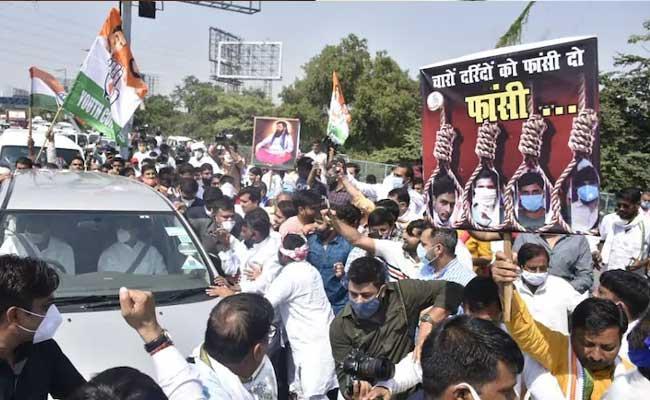 Rahul And Priyanka Gandhi Visit Hathras - Sakshi