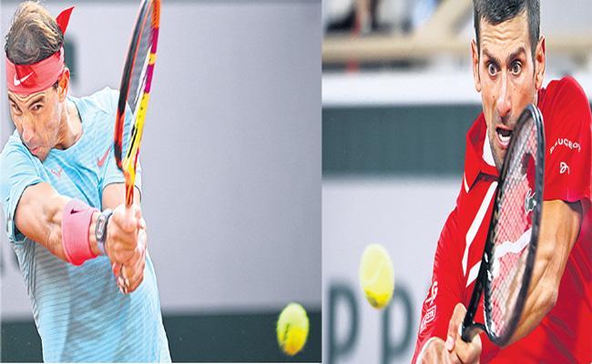 Rafael Nadal and Novak Djokovic in French Open final Today - Sakshi