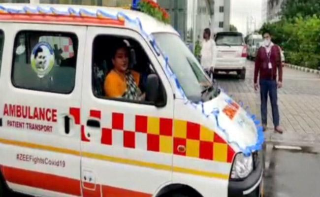 MLA RK Roja Drives New Ambulance In Vijayawada - Sakshi