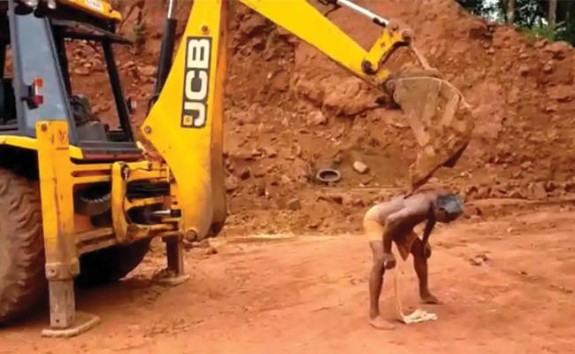 Man Used JCB Excavator To Scratch His Back - Sakshi