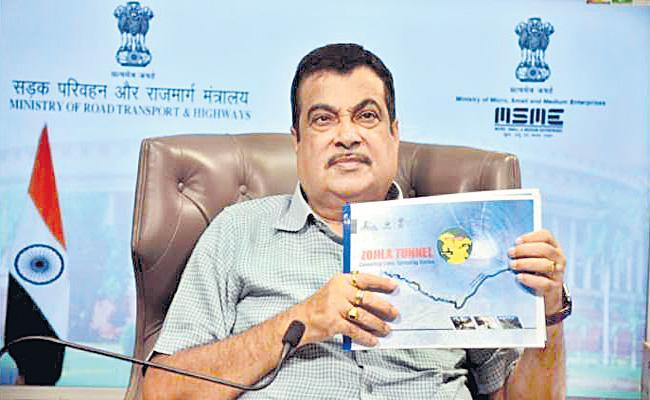 Nitin Gadkari launches work on Zojila tunnel - Sakshi