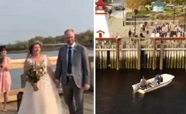 Couple Ties The Knot On A Pier With The Family Blessing Them From A Boat - Sakshi