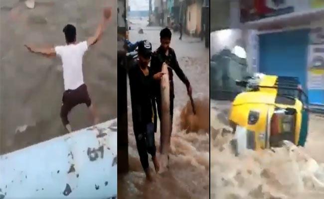 Hyderabad Floods Trending Videos On Social Media - Sakshi