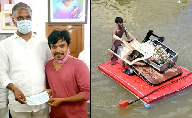 Hyderabad Rains :  Sampurnesh Babu Donates 50,000 Cheque  - Sakshi