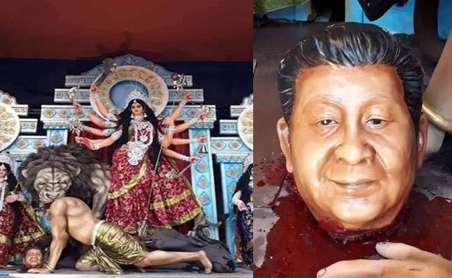 Xi Jinping As Asura In Durga Pandal At West Bengal - Sakshi