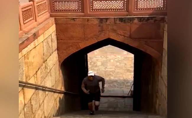 Mohammad Azharuddin Exercises At Humayun Tomb In Delhi - Sakshi