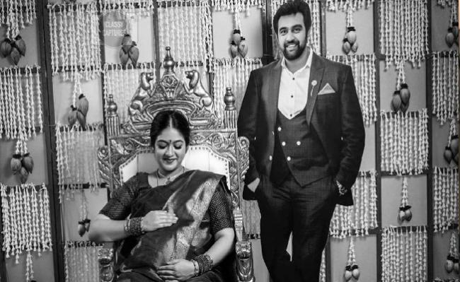 Meghana Sarja Baby Shower with Late Husband Chiranjeevi Sarja Cutout - Sakshi