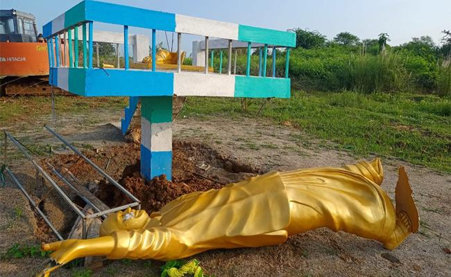 Statue Of YSR Was Destroyed  By Unidentified Persons in Srikakulam  - Sakshi