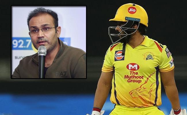 IPL 2020: Virender Sehwag Sarcastic Comments On CSK Batsman - Sakshi