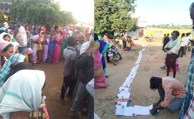 Nalgonda Farmers Stands In Q Line For Tokens To Selling Their Crop - Sakshi