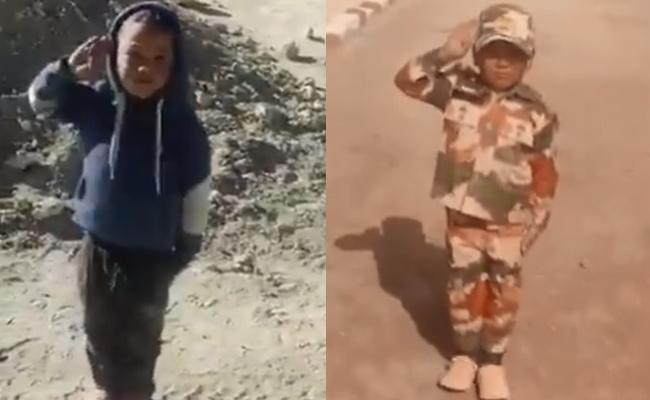 ITBP Honours Little Boy Who Salutes Passing Soldiers At Leh - Sakshi