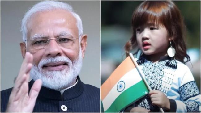 PM Modi Lauds 4 Year Old Girl Rendition of Vande Mataram - Sakshi
