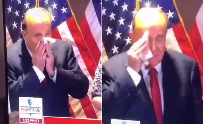 Rudy Giuliani Blowing Nose Into A Napkin Using It To Wipe His Face - Sakshi