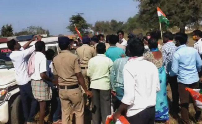 Congress Protest At Mallanna Sagar - Sakshi