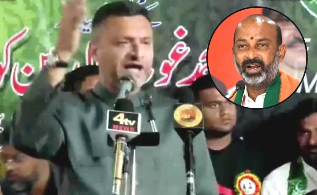 GHMC Elections 2020 Bandi Sanjay Counter To Akbaruddin Owaisi - Sakshi