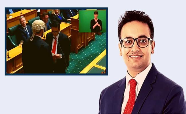 Indian-origin doctor Gaurav Sharma takes oath as New Zealand MP in Sanskrit - Sakshi