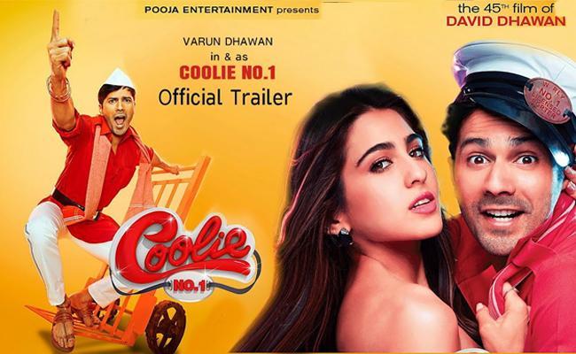 Varun Dhawan, Sara Ali Khan's Comedy Coolie No 1 Trailer - Sakshi