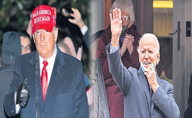 Donald Trump And Joe Biden American Presidential Election Voting 2020 - Sakshi
