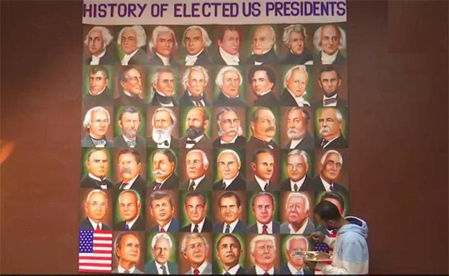 Punjab Painter Adds Joe Biden To His Collage Of US Presidents - Sakshi