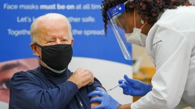 Joe Biden Publicly Receives First Covid Vaccine Shot - Sakshi