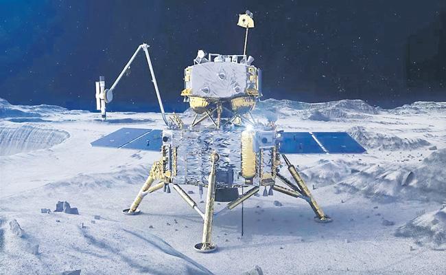 China Chang'e-5 probe drills Moon collects samples - Sakshi