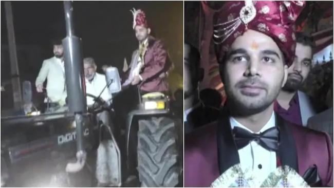 Haryana Groom Supports Farmers Protest Attends Wedding in Tractor - Sakshi