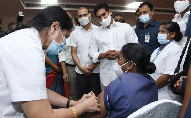 CM YS Jagan Launches Covid Vaccination Program In Vijayawada - Sakshi