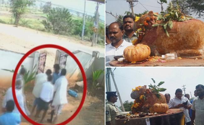 Tdp activists booked while removing nandi idol in srikakulam district santhabommali - Sakshi