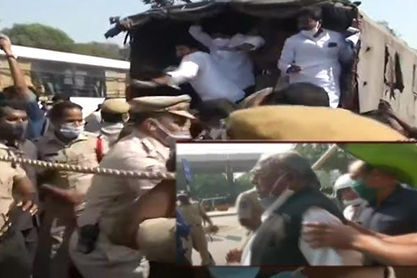 Congress Leaders Arrested at Raj Bhavan - Sakshi