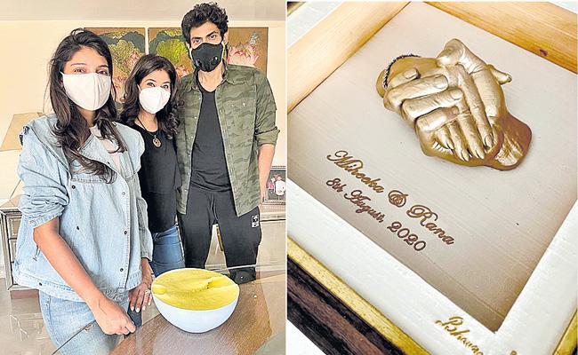 Rana Daggubati and Miheeka get 3D impressions of their hands - Sakshi