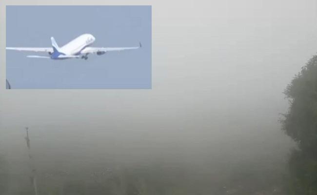 Indigo Flight Return To Hyderabad Due TO Fog At Gannavaram Airport - Sakshi