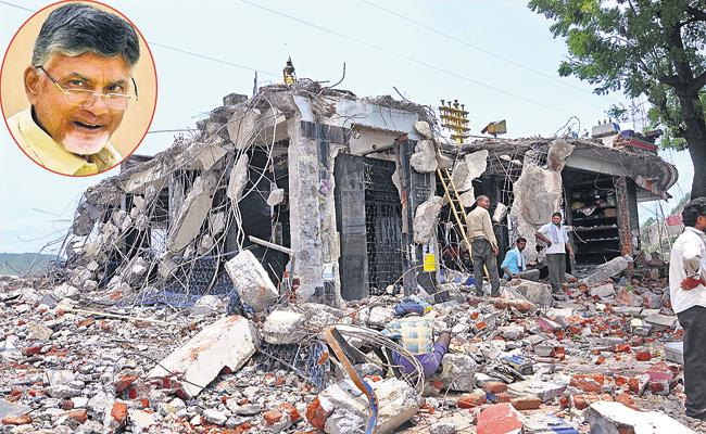Chandrababu Govt Construction of toilets at various places of Temples demolition sites - Sakshi