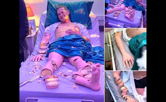 Man Lying On Hospital Bed With Smile But Its Actually Cacke - Sakshi