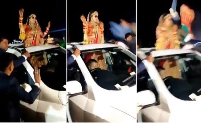 Shocking Video: Bride Dance On Road In Baraat Escaped From Car Accident - Sakshi