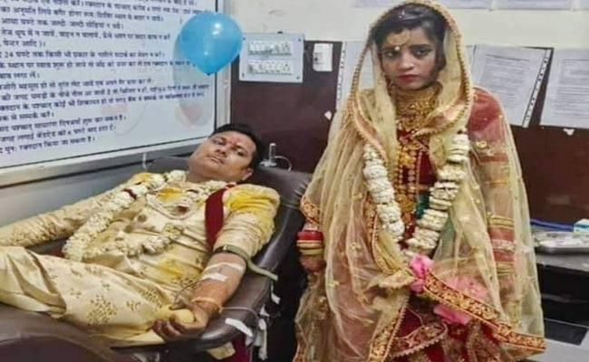 Newly Married Couple Donated Blood On Wedding Day In UP - Sakshi