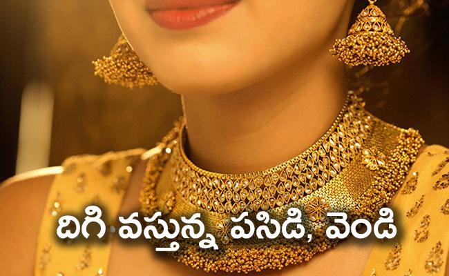 Gold price dips to Rs 46,750 per 10 gm silver declines - Sakshi