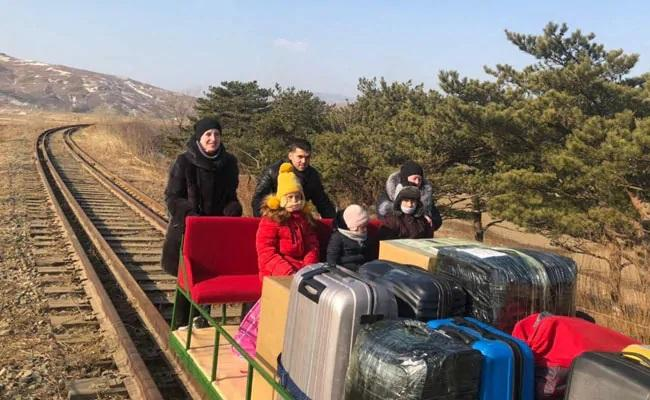 Russian Diplomats Returned From North Korea On Rail Trolley - Sakshi