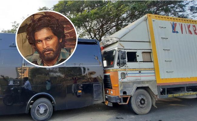Allu Arjun Caravan Falcon Met With Road Accident - Sakshi