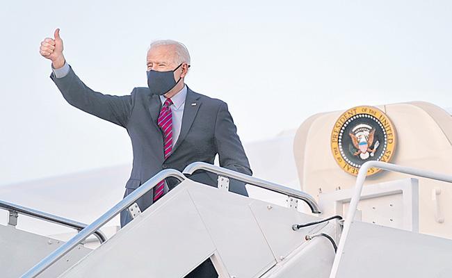 President Joe Biden flight home on Air Force One - Sakshi