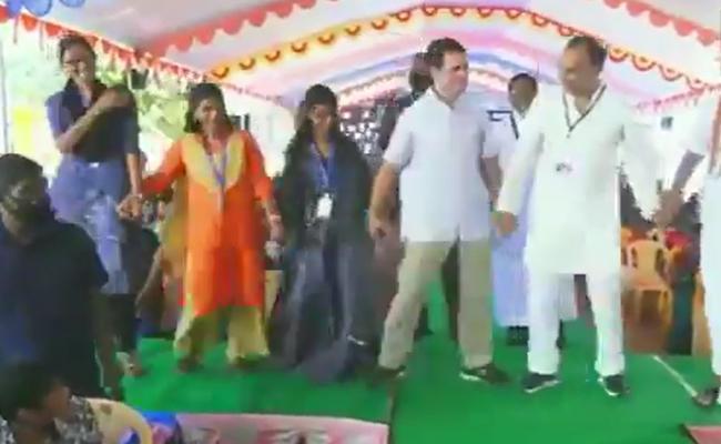Congress leader Rahul Gandhi dances with students - Sakshi