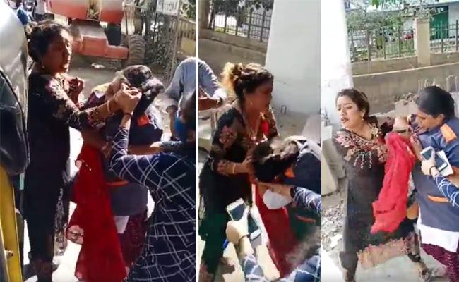 Viral Video: Woman Thrashes female BMC worker over face mask - Sakshi