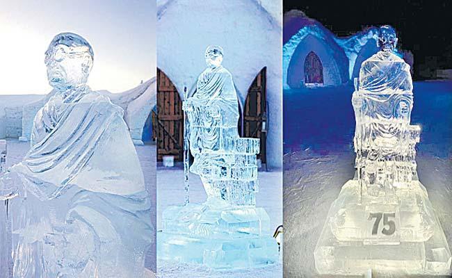 Ice Statue Of Mahatma Gandhi Has Been Installed In Canada - Sakshi