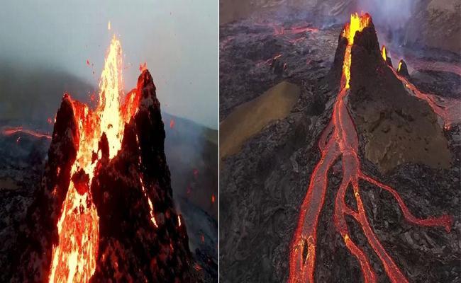 Drone Pictures Of Iceland Volcano Eruption - Sakshi