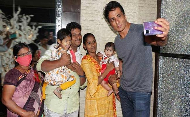 Sonu Sood Meets Khammam Couple Who Named Their Child Sonali Sood - Sakshi
