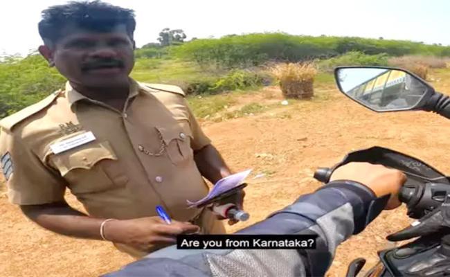 Police Stopped Bike For A Good Reason Video Gone Viral - Sakshi