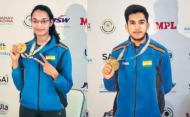 India clean sweep in womens 25m pistol Shooting World Cup - Sakshi