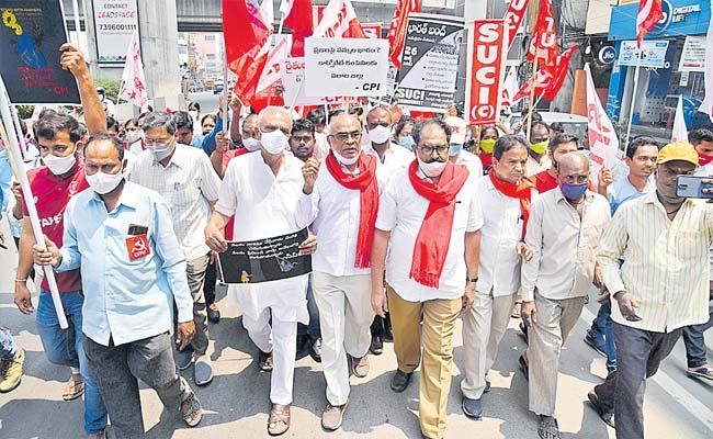 CPM Leader Tammineni Veerabhadram Demands Central Govt To Scrap New Farm Laws - Sakshi